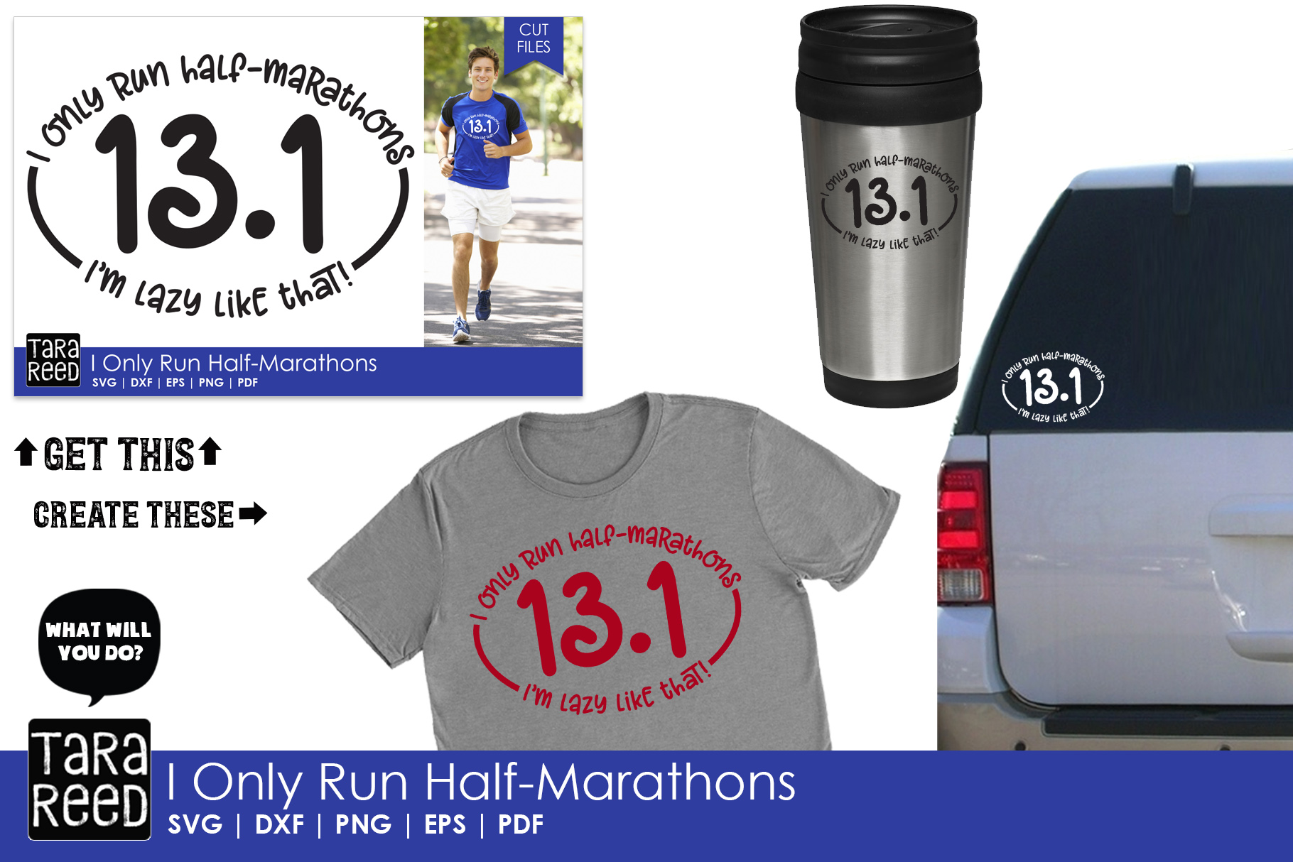 I Only Run Half-Marathons - SVG and Cut Files for Crafters example image 2