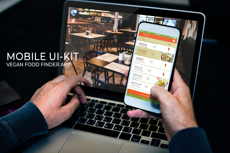 Mobile Ui-Kit | Vegan Food Finder App - 6 PSD Templates example image 2