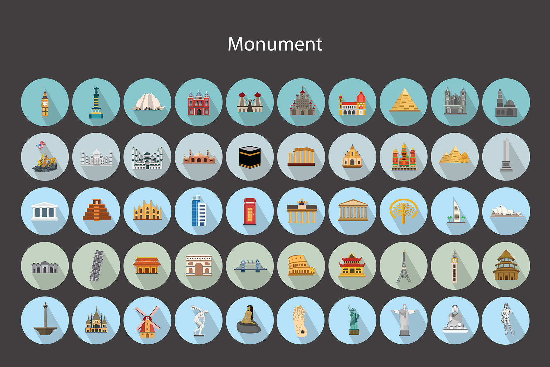 Flat Vector Icons Monument Pack V2 example image 5