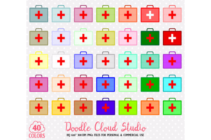 40 Colorful First Aid Kit Clipart PNG Transparent Background Personal & Commercial Use example image 1