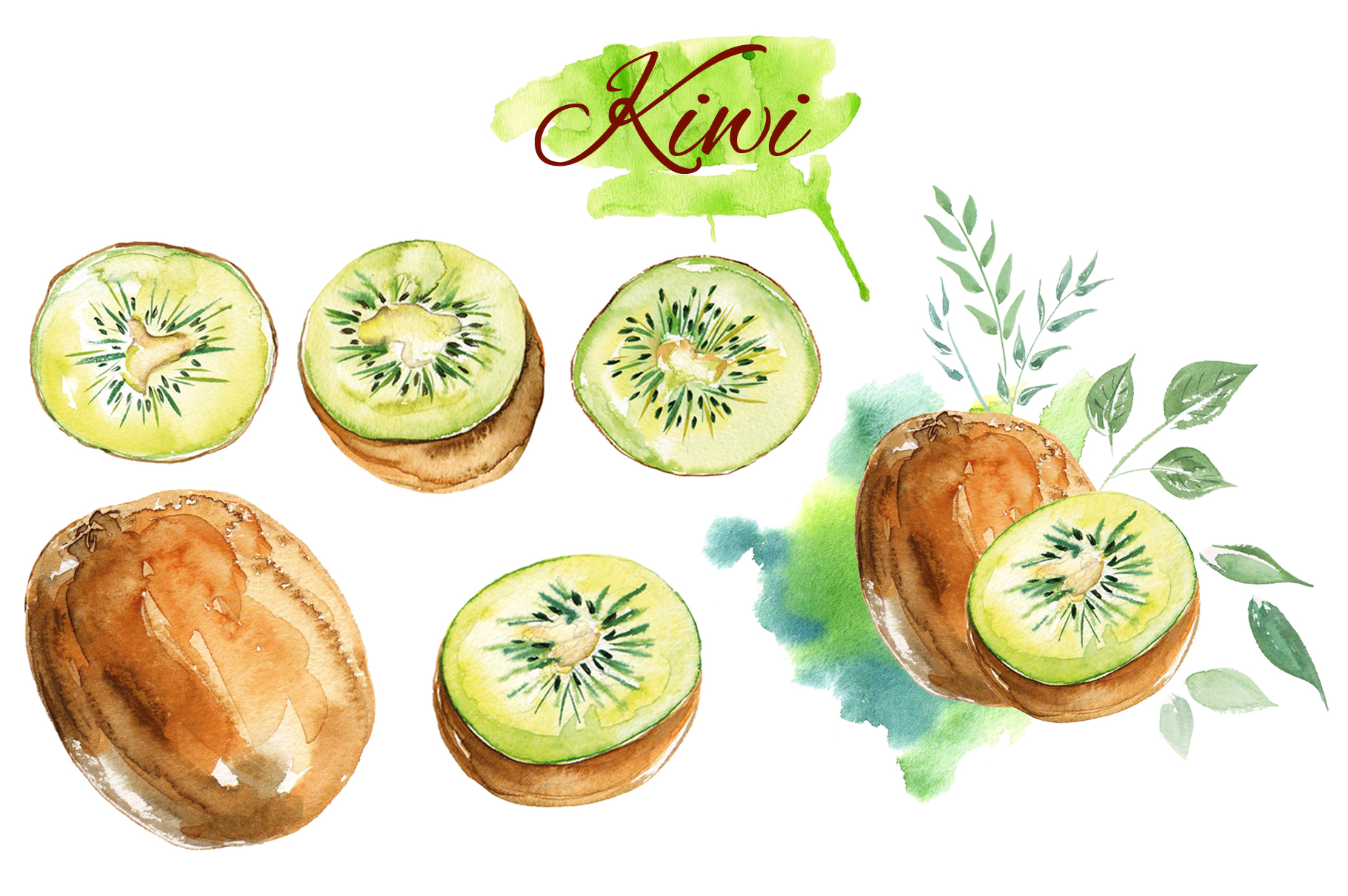 Fruits watercolor collection example image 3