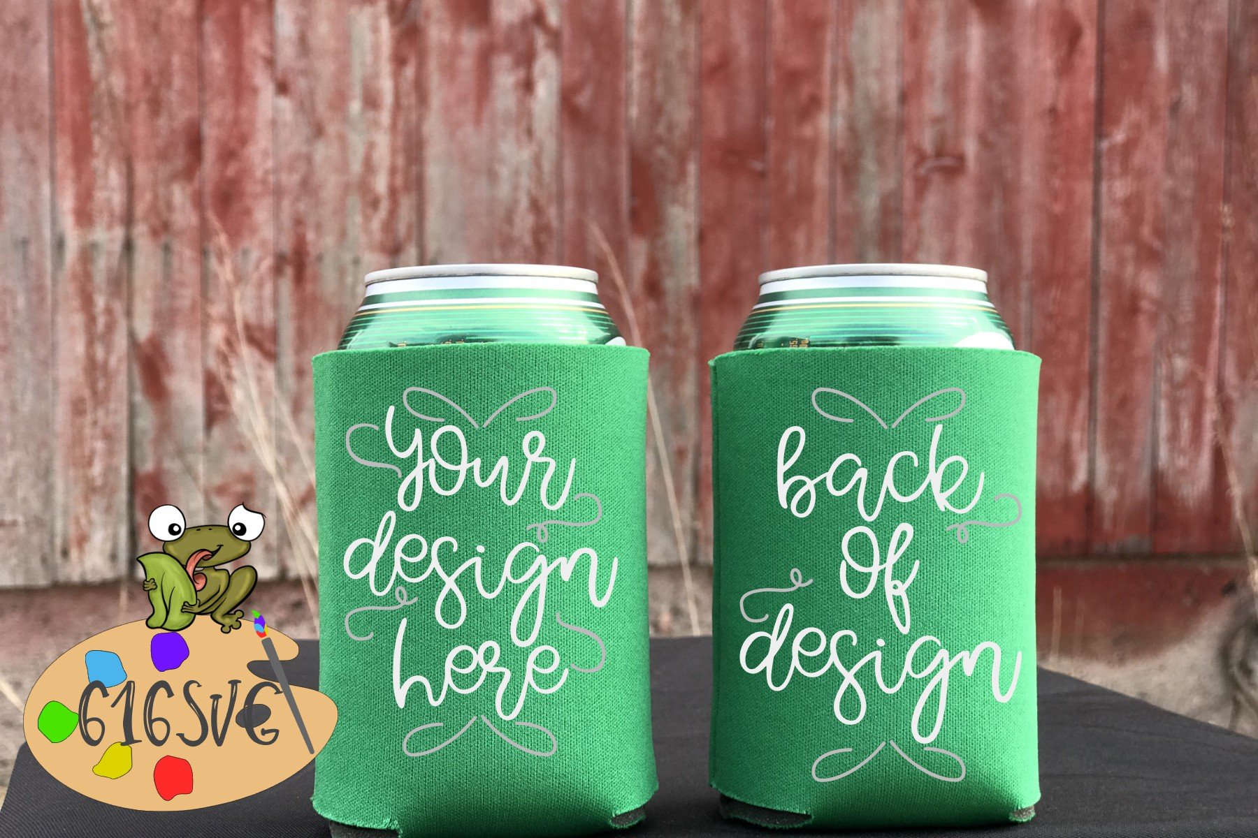 Kelly Green Can Cooler Mockup example image 1