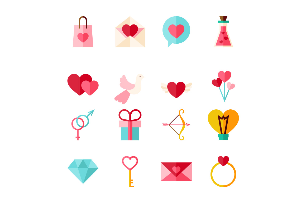 Valentines Day Vector Flat Icons example image 2