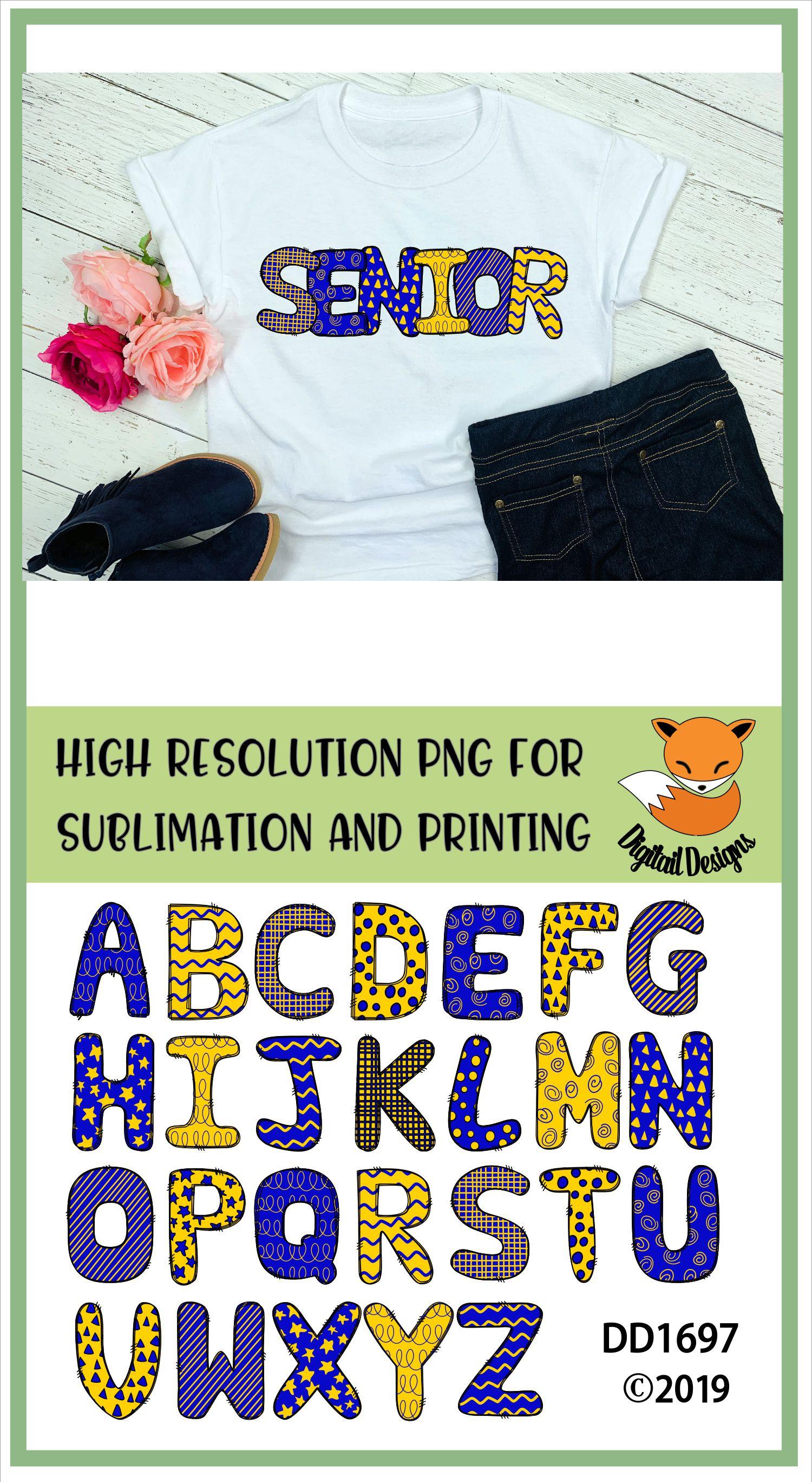 Sublimation Printable Doodle Alphabet Letters example image 2