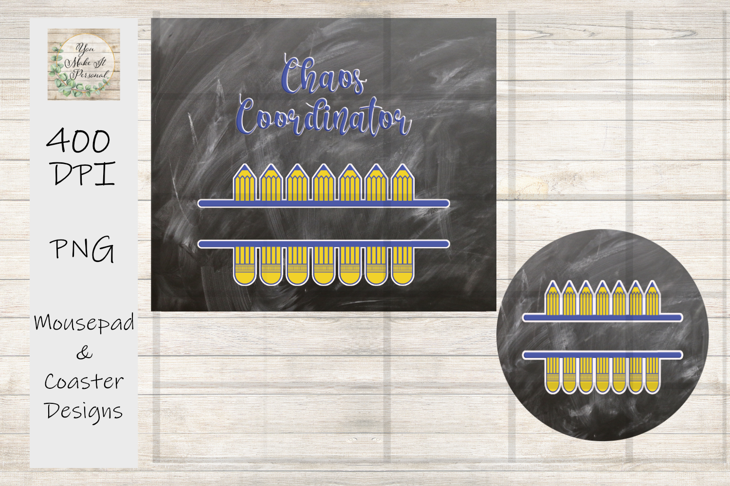 Mouse Pad and Coaster Set - Teacher Gift, For Sublimation example image 2