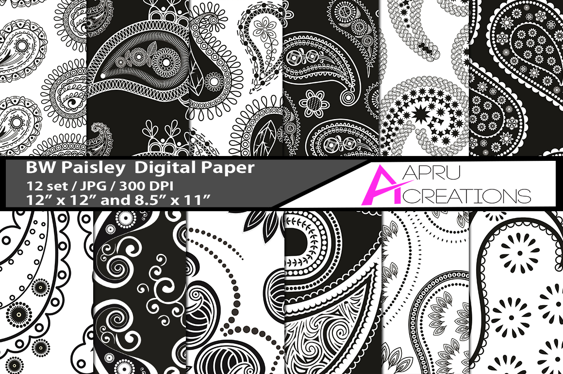 block and white paisley digital papers,black and white paisley pattern, digital papers, high quality 300 dpi, 12 x 12 inch , and 8.5 x 11 inch example image 1