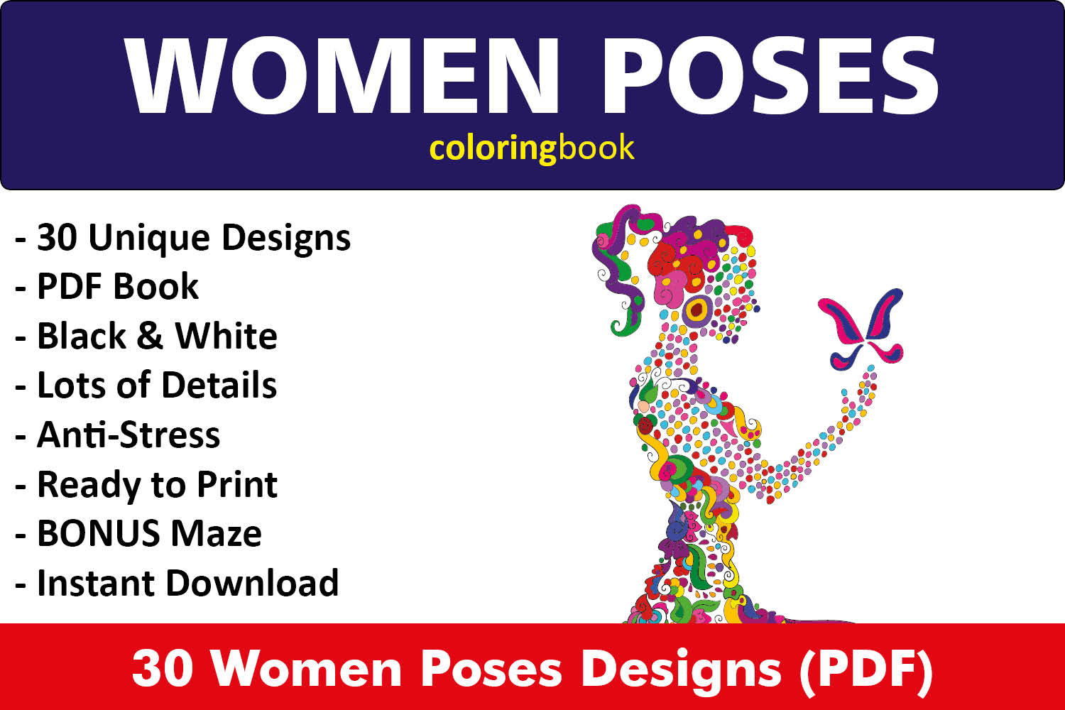 Women Poses Coloring Book - 30 Unique Illustrations example image 1