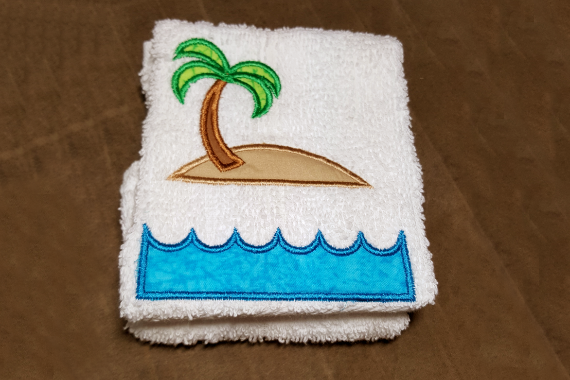 Tropical Island Split Applique Embroidery Design example image 2