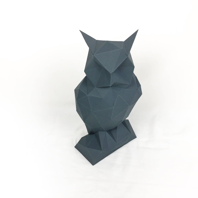 Night Owl, Papercraft Owl, Paper Owl, Animal Trophy, Loft Decor, Home Decor, 3D papercraft model, animal head, lowpoly DIY, hobby idea, DIY example image 5