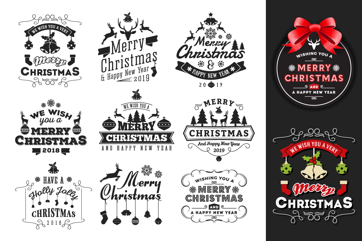 Set of Christmas and New Year Labels/Logo Badges example image 2