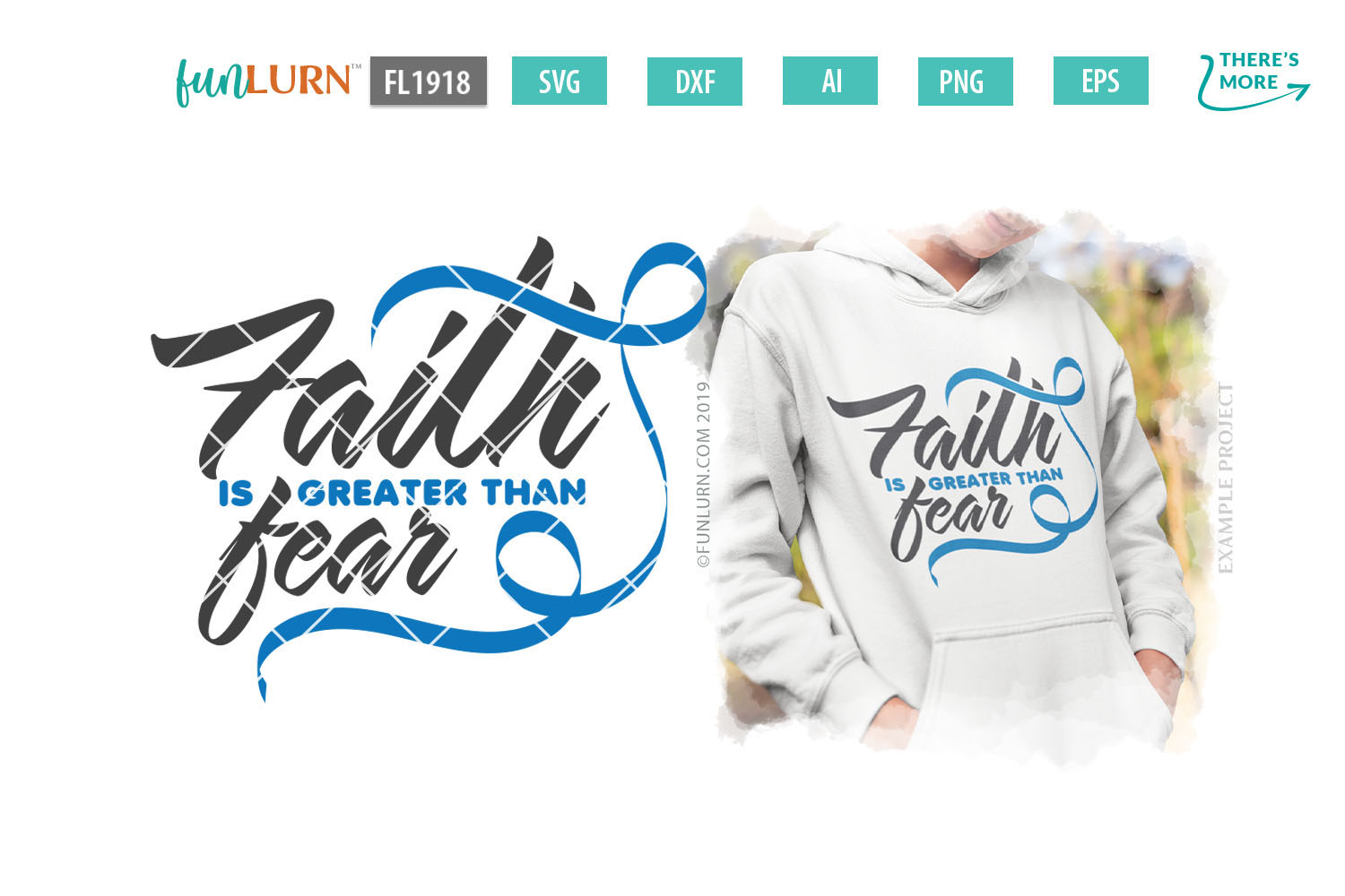 Faith is Greater Than Fear Blue Ribbon SVG Cut File example image 1