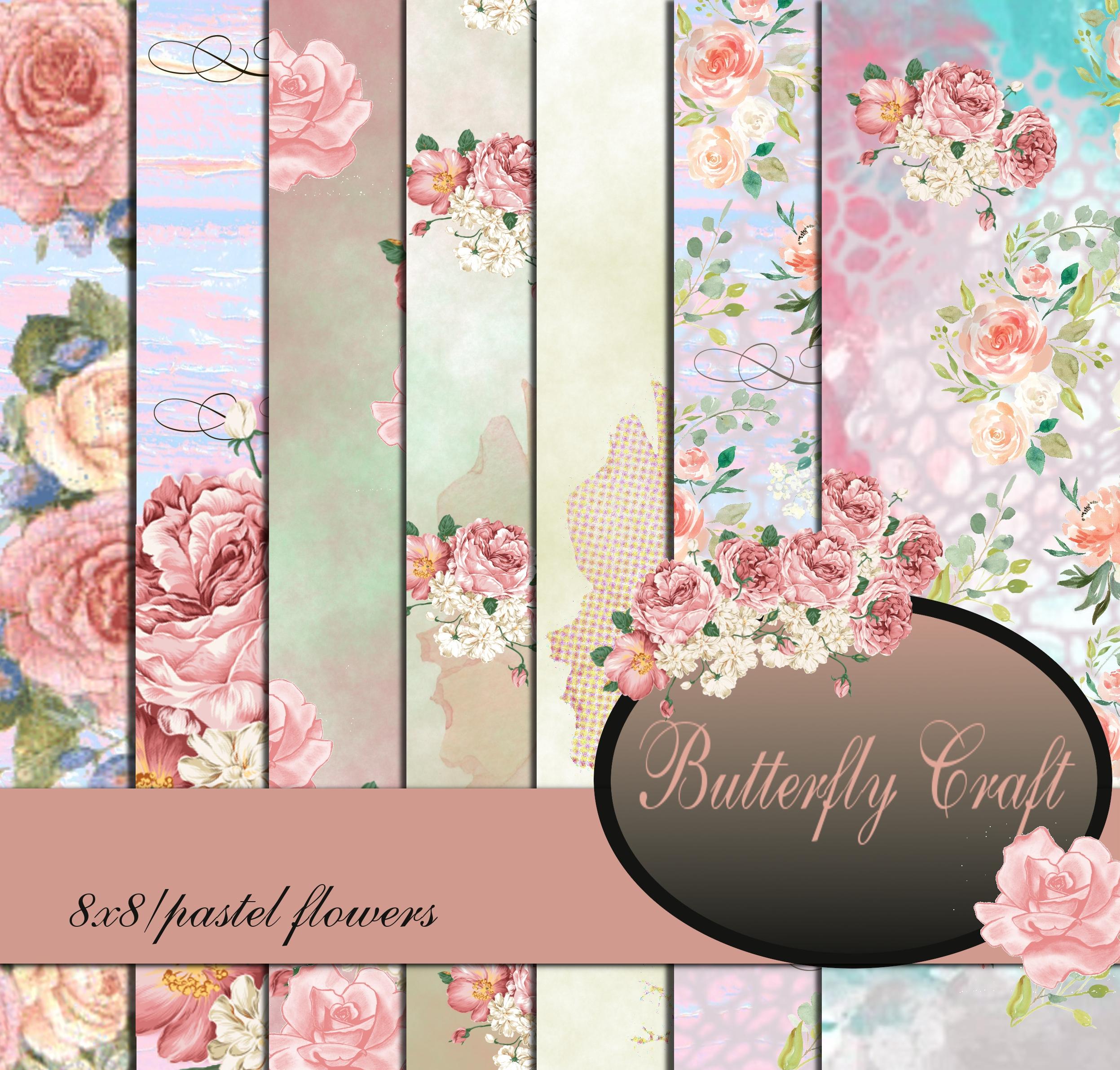 Pastel Flowers Digital Paper Flower Digital Paper Spring Flowers