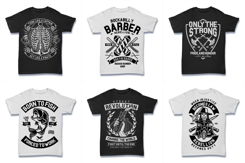 100  Vector Tshirt Designs ( B/W Concept ) example image 14