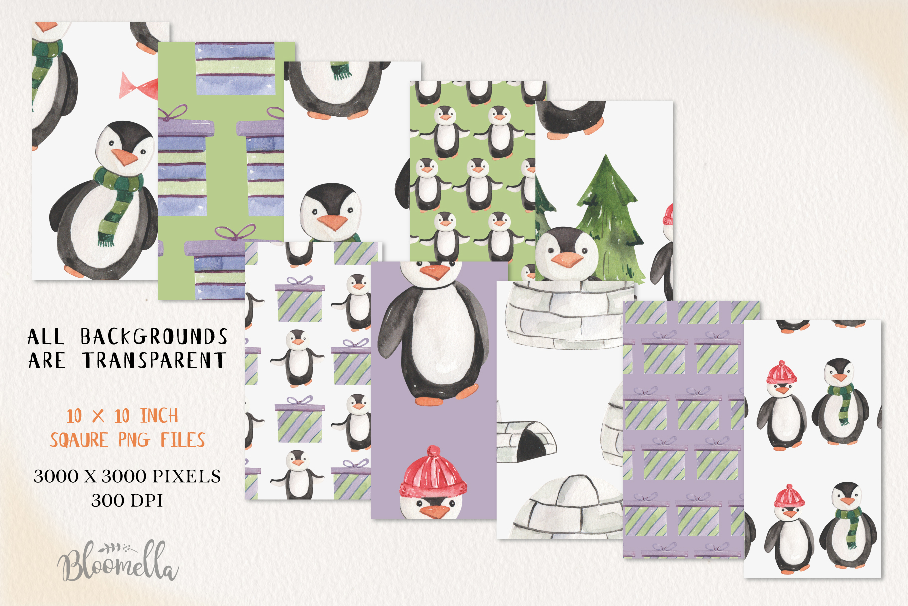 Penguins Seamless Patterns Digital Papers Winter Festive example image 2
