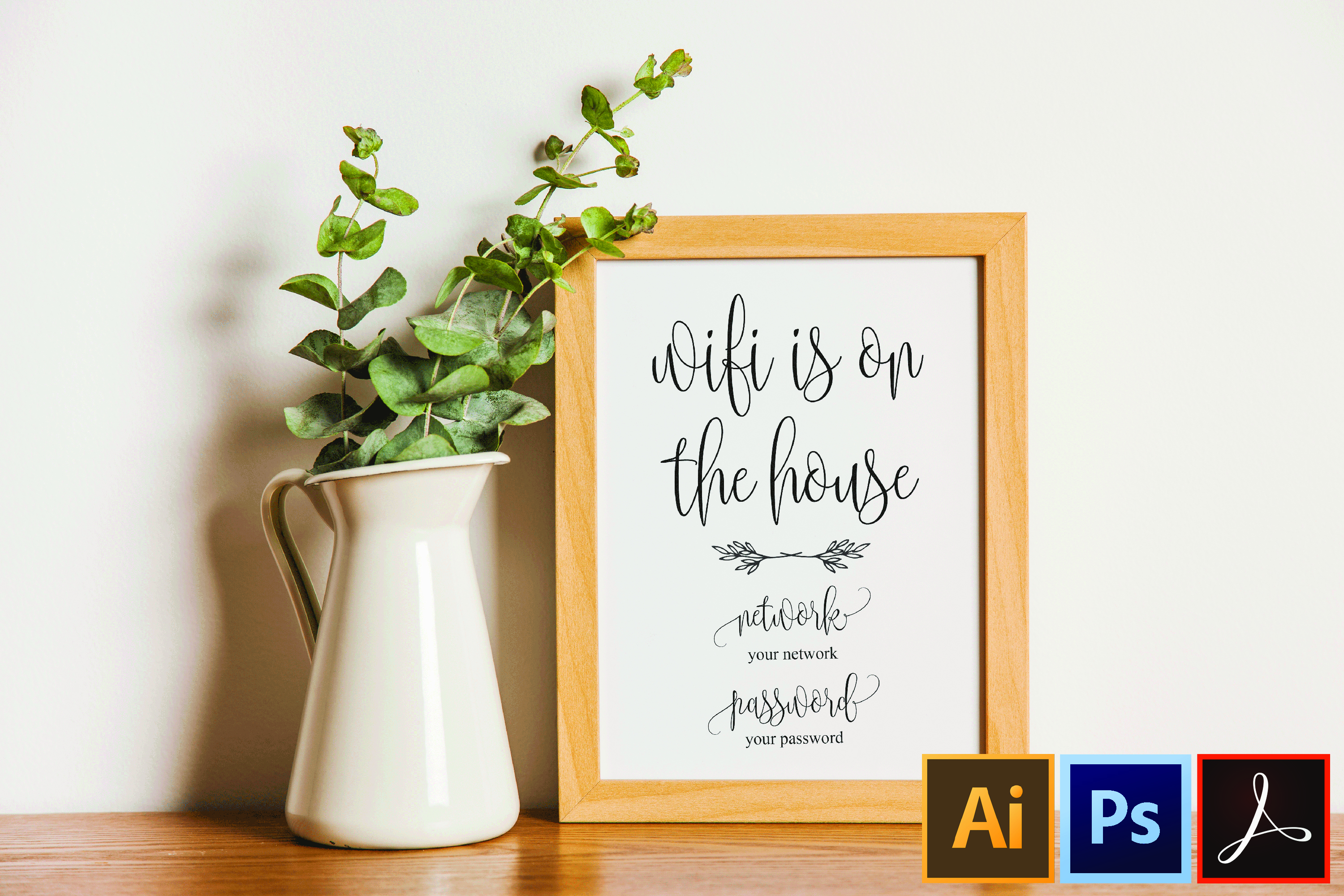 Wifi Password Sign Printable Instant Download, Wifi Sign example image 1
