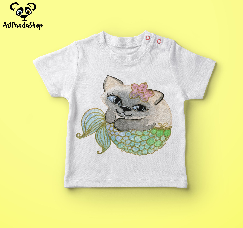Cat fish cute mermaid watercolor cat print nursery printable example image 2