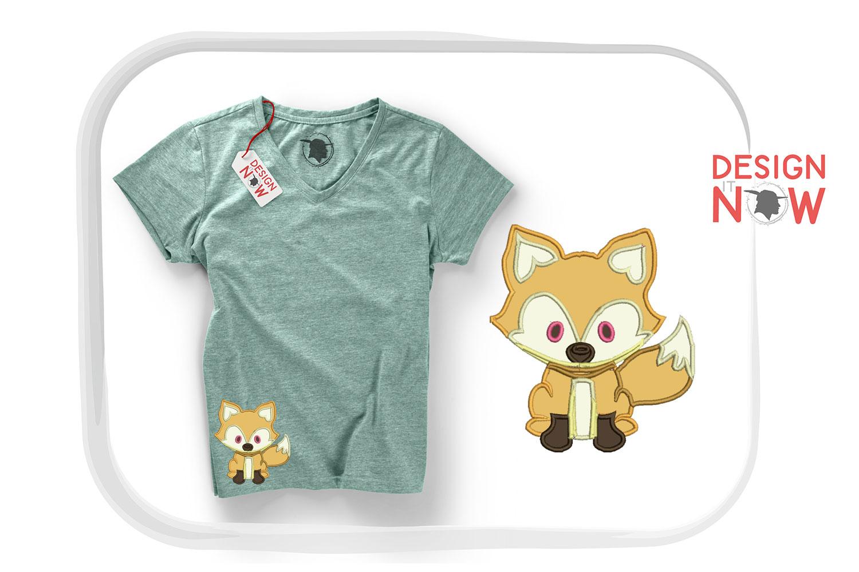 Fox Applique Design, Fox Embroidery Design, Wild Animals example image 4
