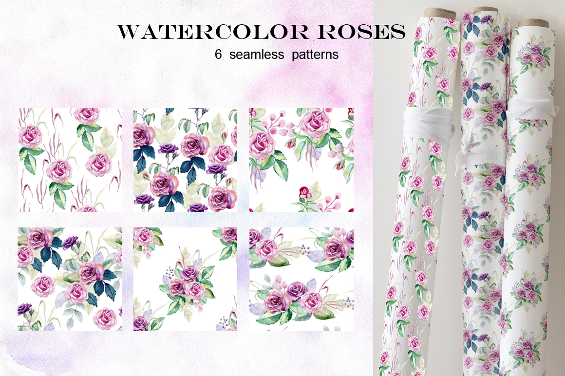Watercolor roses. Set. example image 5