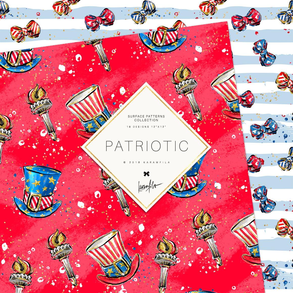 4th of July Mermaid Unicorn Patterns example image 3