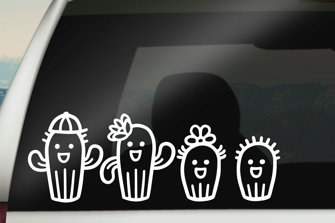 Cactus Family Cartoon Set - cut files for decals! example image 2