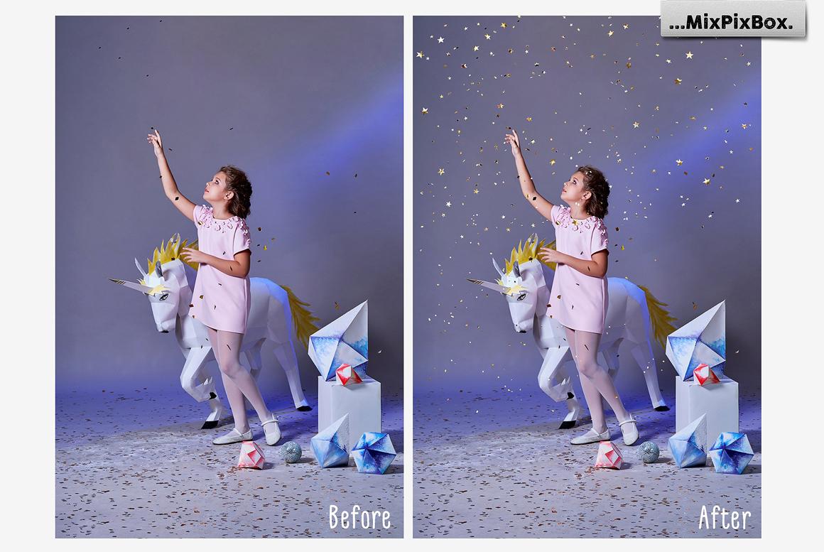 Golden Confetti Photo Overlays example image 3