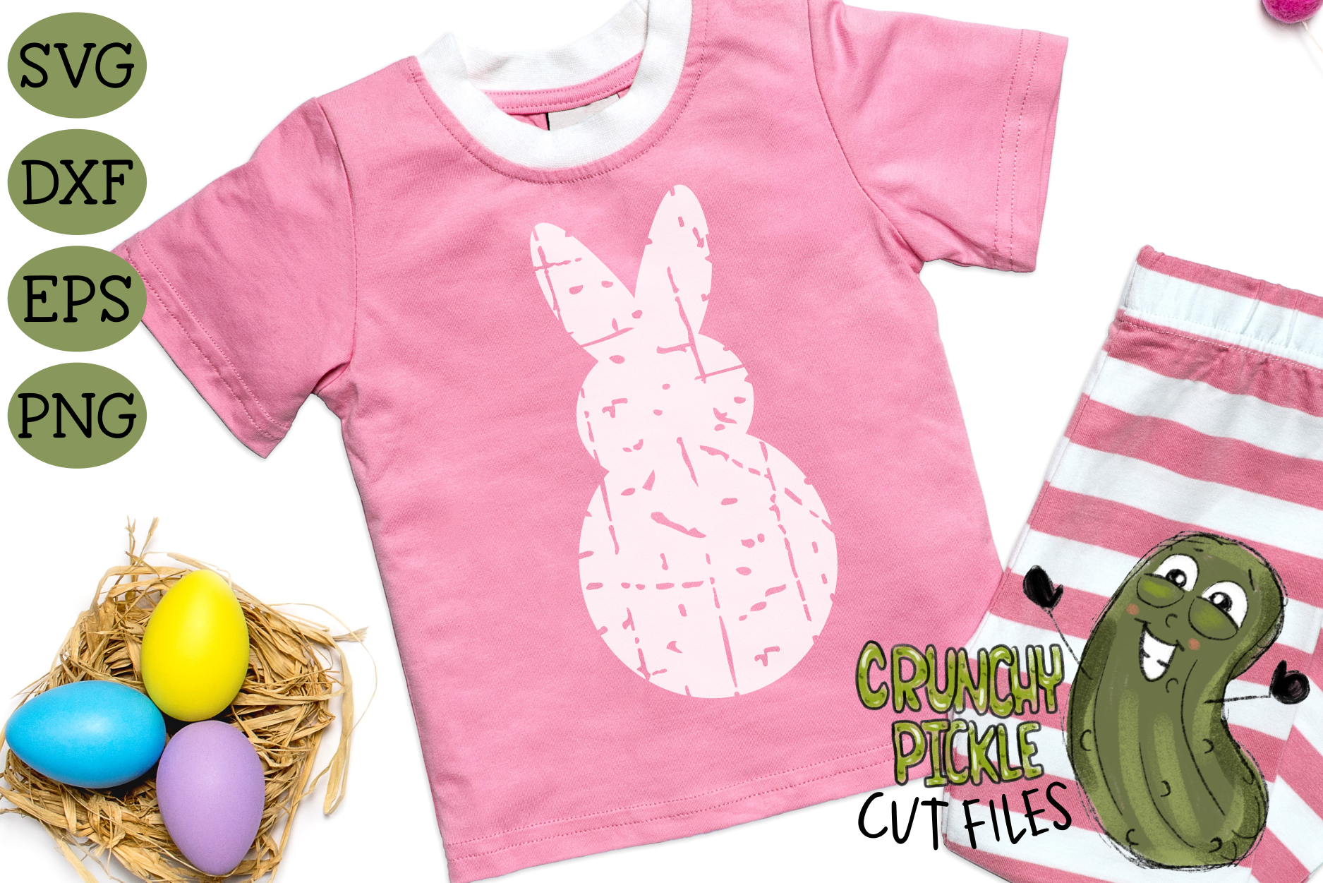 Plaid & Grunge Spring Easter Bunny 1 SVG Cut File example image 2