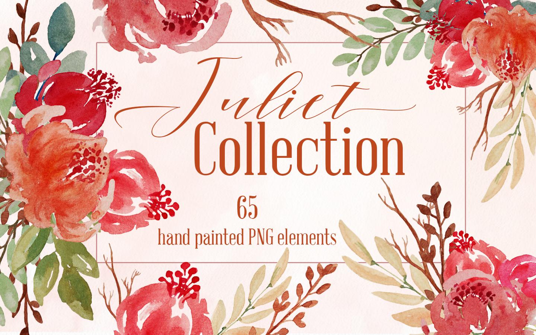 Juliet Floral Watercolor Clip Art Set example image 1