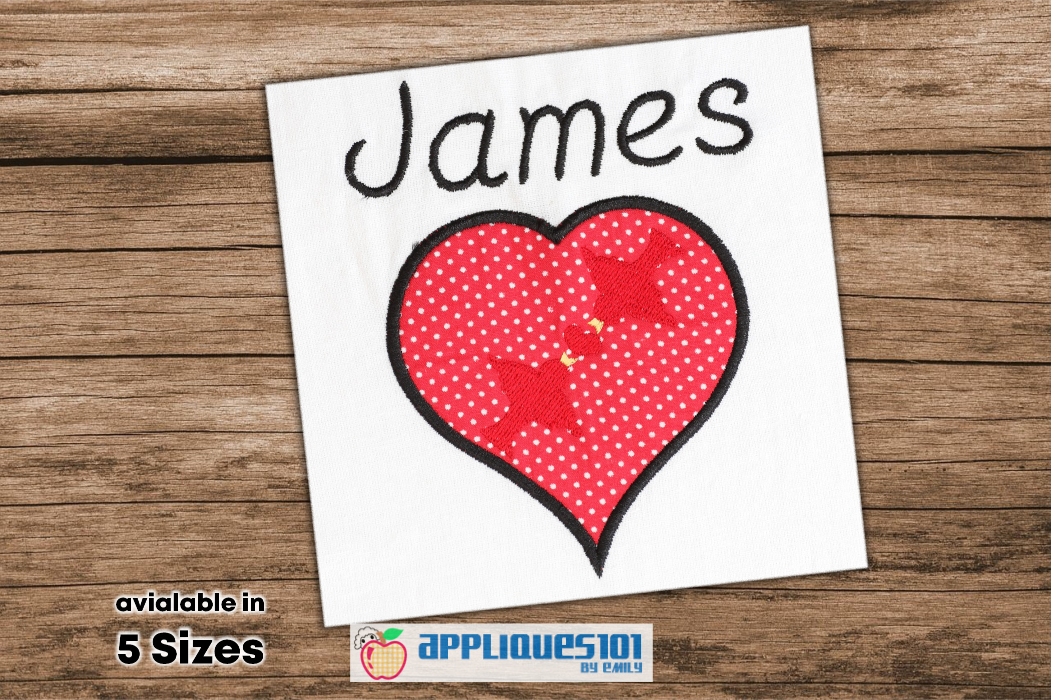 Love Birds In Heart Machine Embroidery Applique Design-Birds example image 1