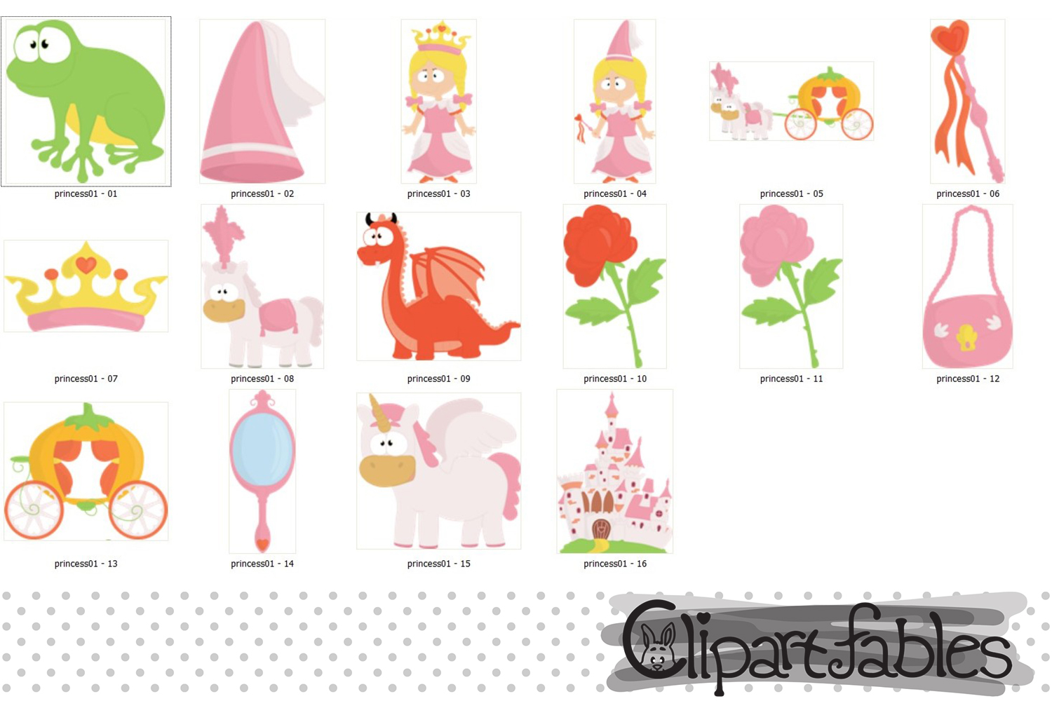 Little PRINCESS clip art, Pink Fairy tale clipart - INSTANT example image 2