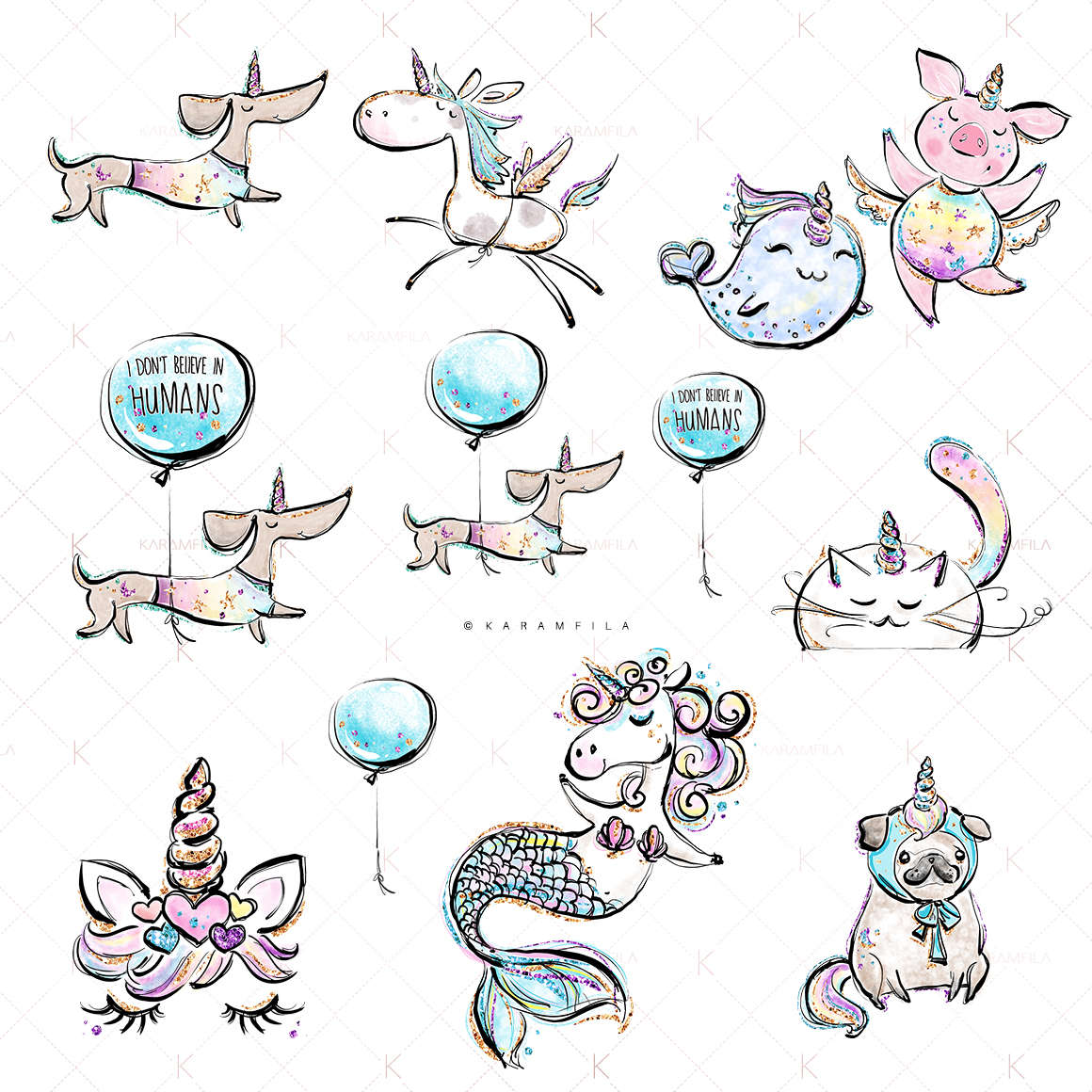 Unicorn Pets Clipart example image 2