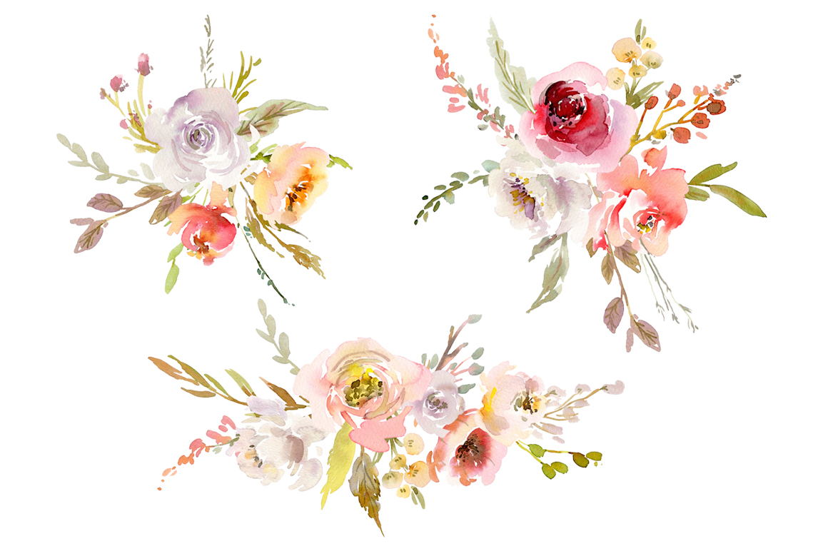 Watercolor Pink White Red Flowers PNG Collection example image 3