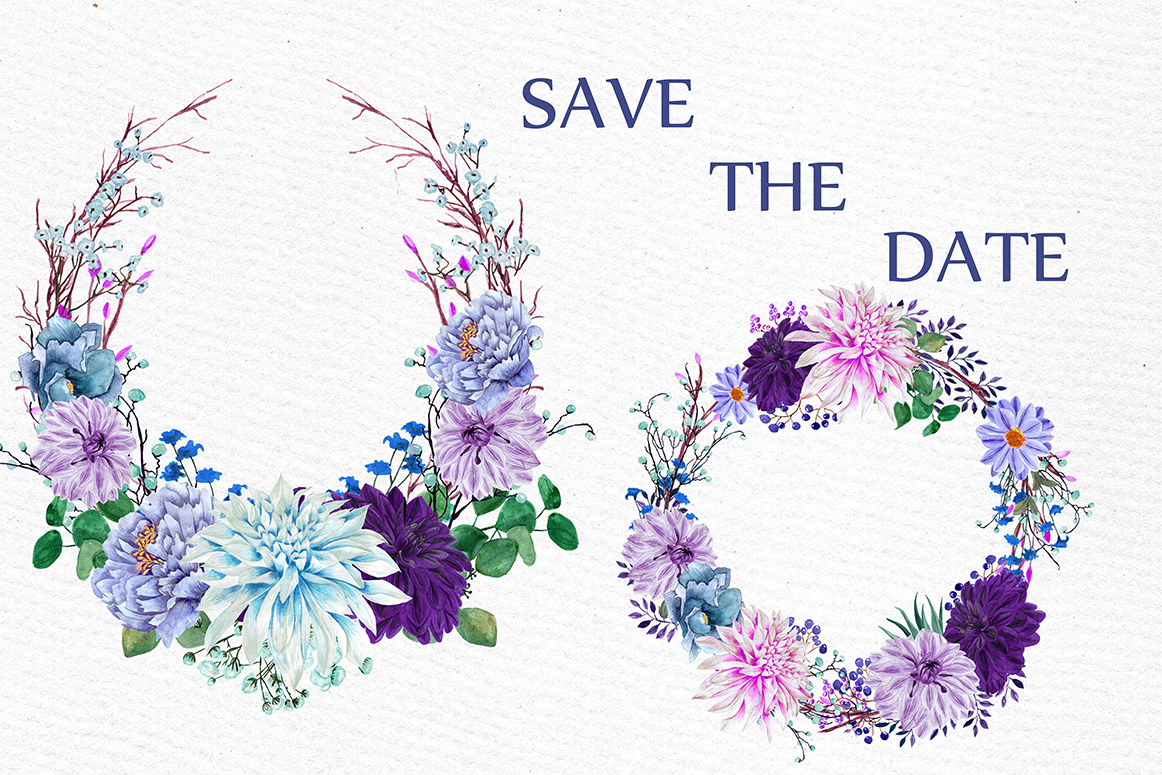 Watercolor Purple Wreaths Clipart example image 2
