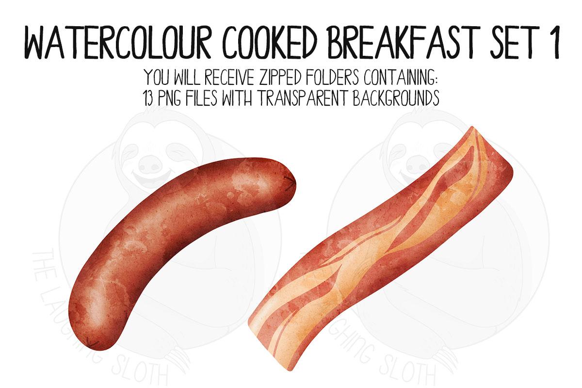 Watercolor Cooked Breakfast Clip Art Set example image 4