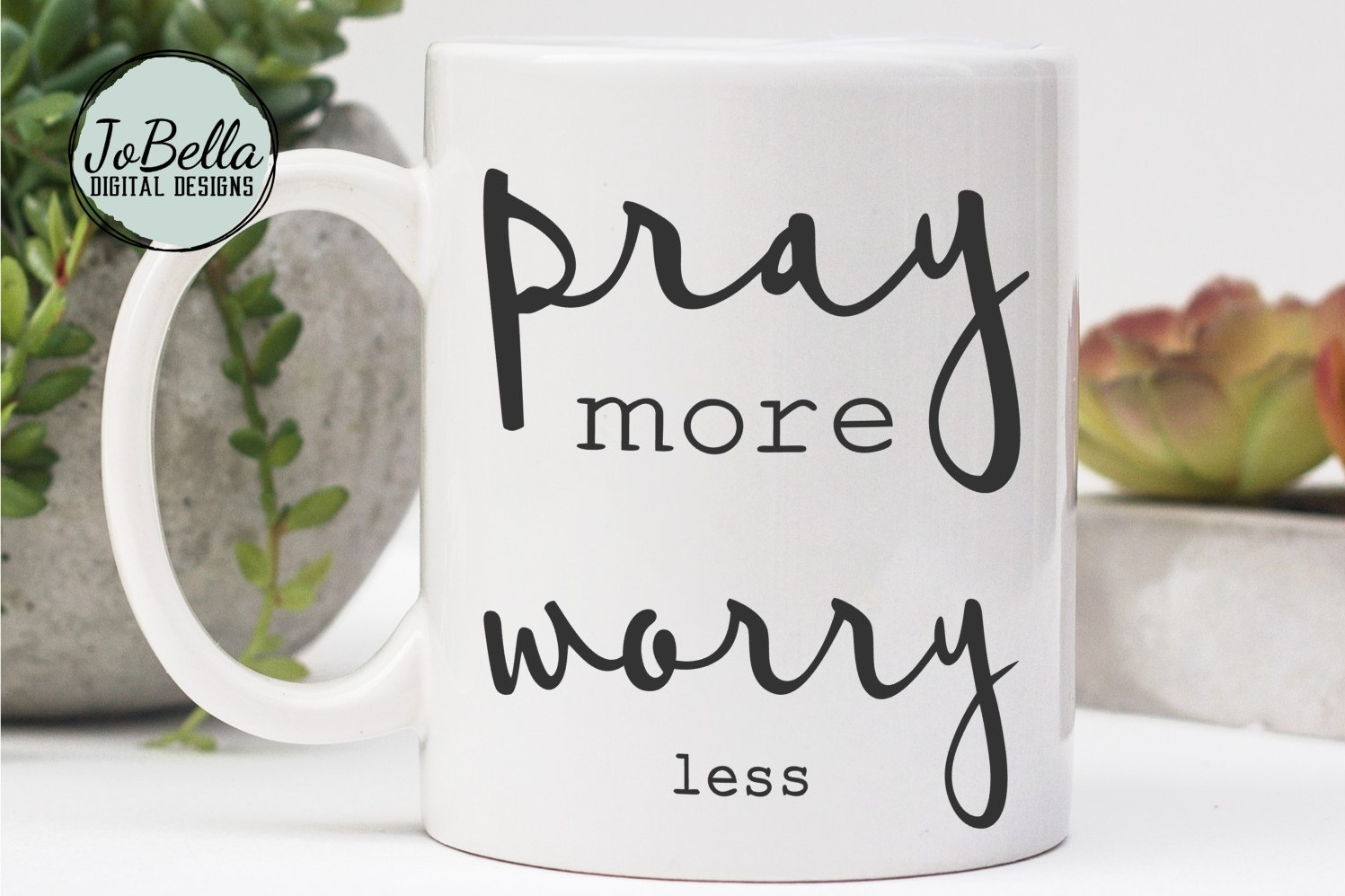 Pray More Worry Less SVG and Printable Christian Design example image 3