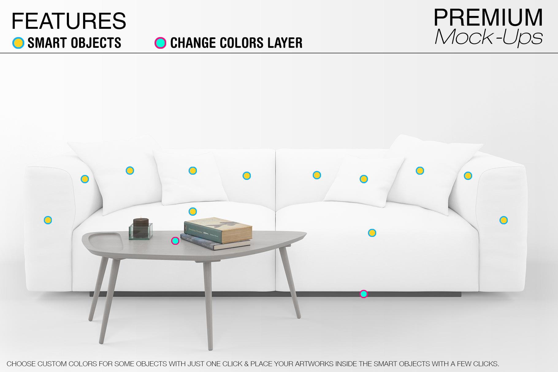 Sofa & Pillows Mockup Pack example image 6