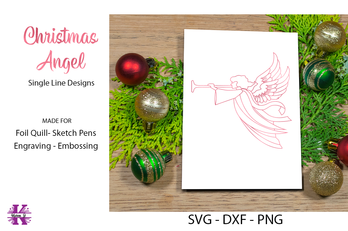 Christmas Angel SVG for Foil Quill|Sketch pen|Engraving example image 1