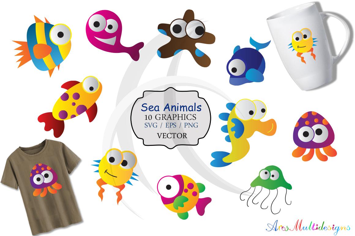 sea animal svg /sea animals clip art SVG /sea animal vector/ hand drawn doodle sea creatures / Eps / Png / printable example image 1