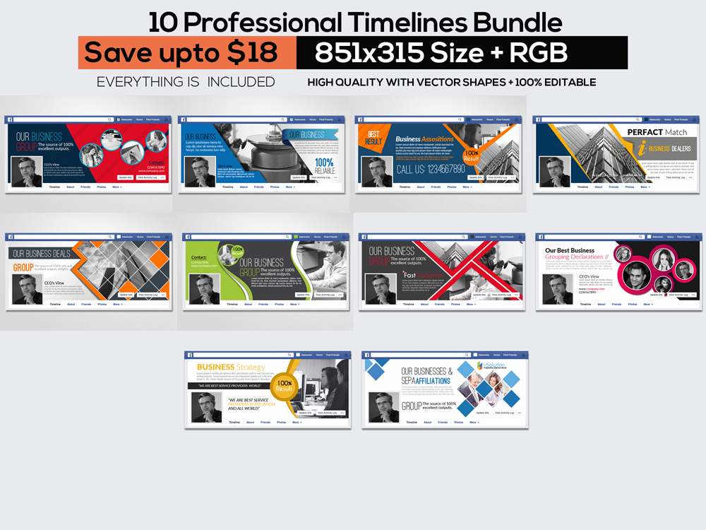 10 Business Facebook Timelines Bundle example image 1