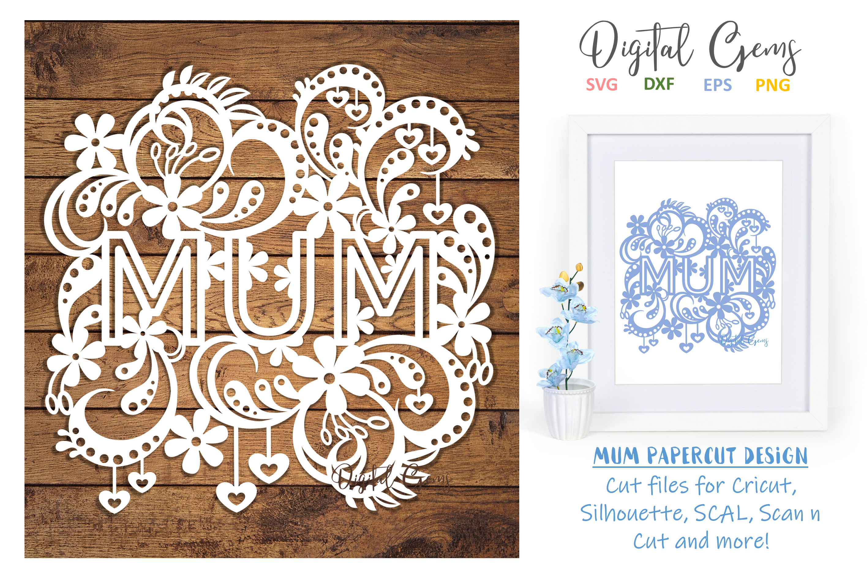 Mum paper cut design SVG / DXF / EPS files example image 1