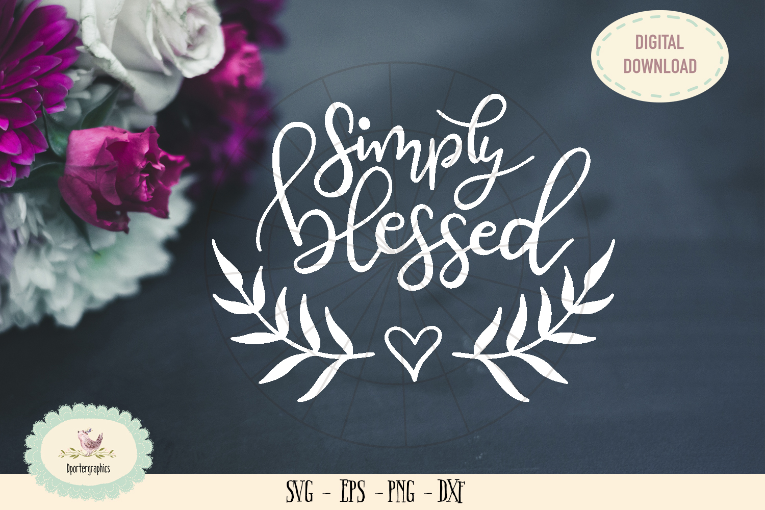 Simply blessed SVG PNG bible quote hand lettered example image 1