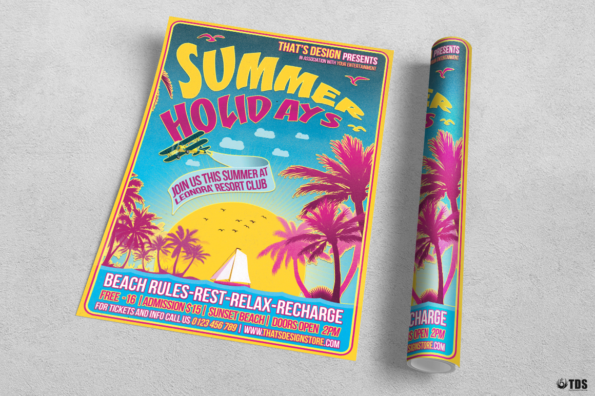 Summer Holidays Flyer Template V2 example image 3