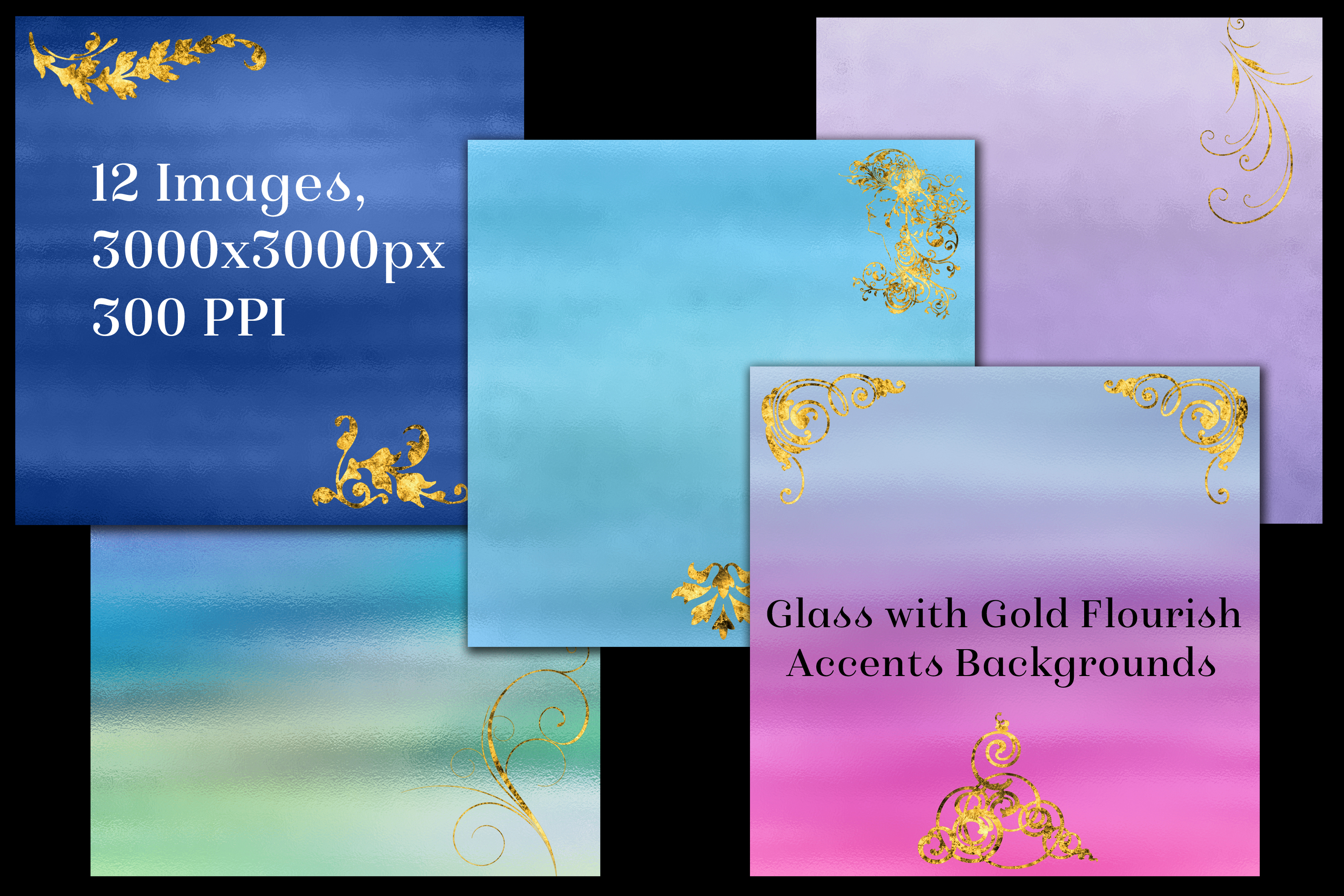 Glass with Gold Flourish Accents Backgrounds - 12 Images example image 2