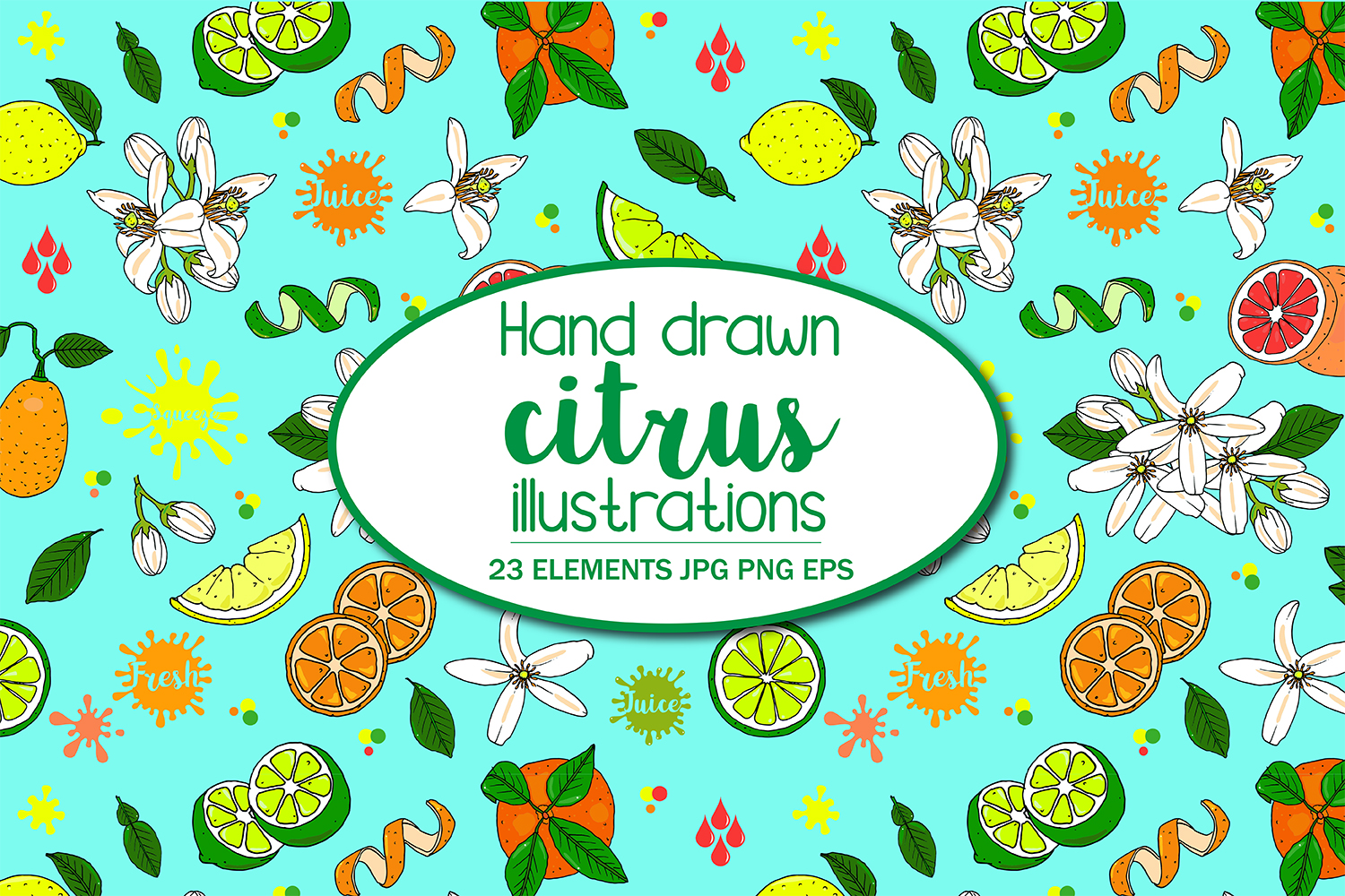 Hand Illustrated Citrus Fruits Pattern example image 1