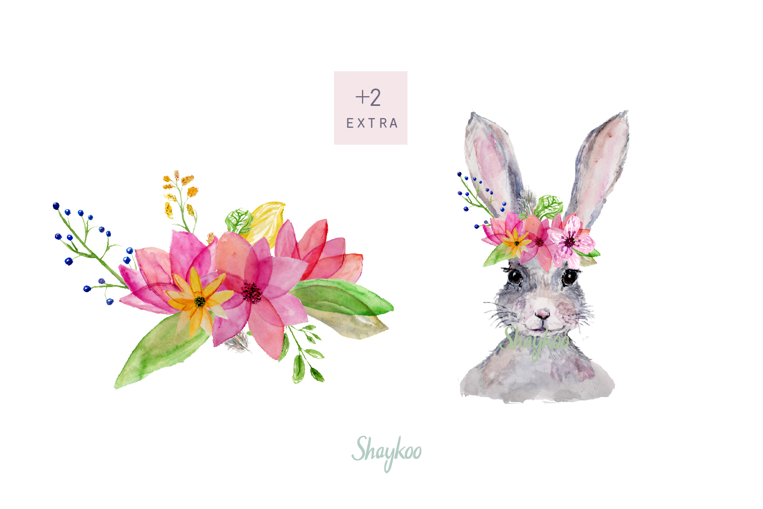 Bunny Watercolor Clipart, Handpainted, Boho, Nursery Bunnies example image 6