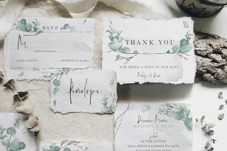 Watercolor Eucalyptus Wedding Suite example image 4