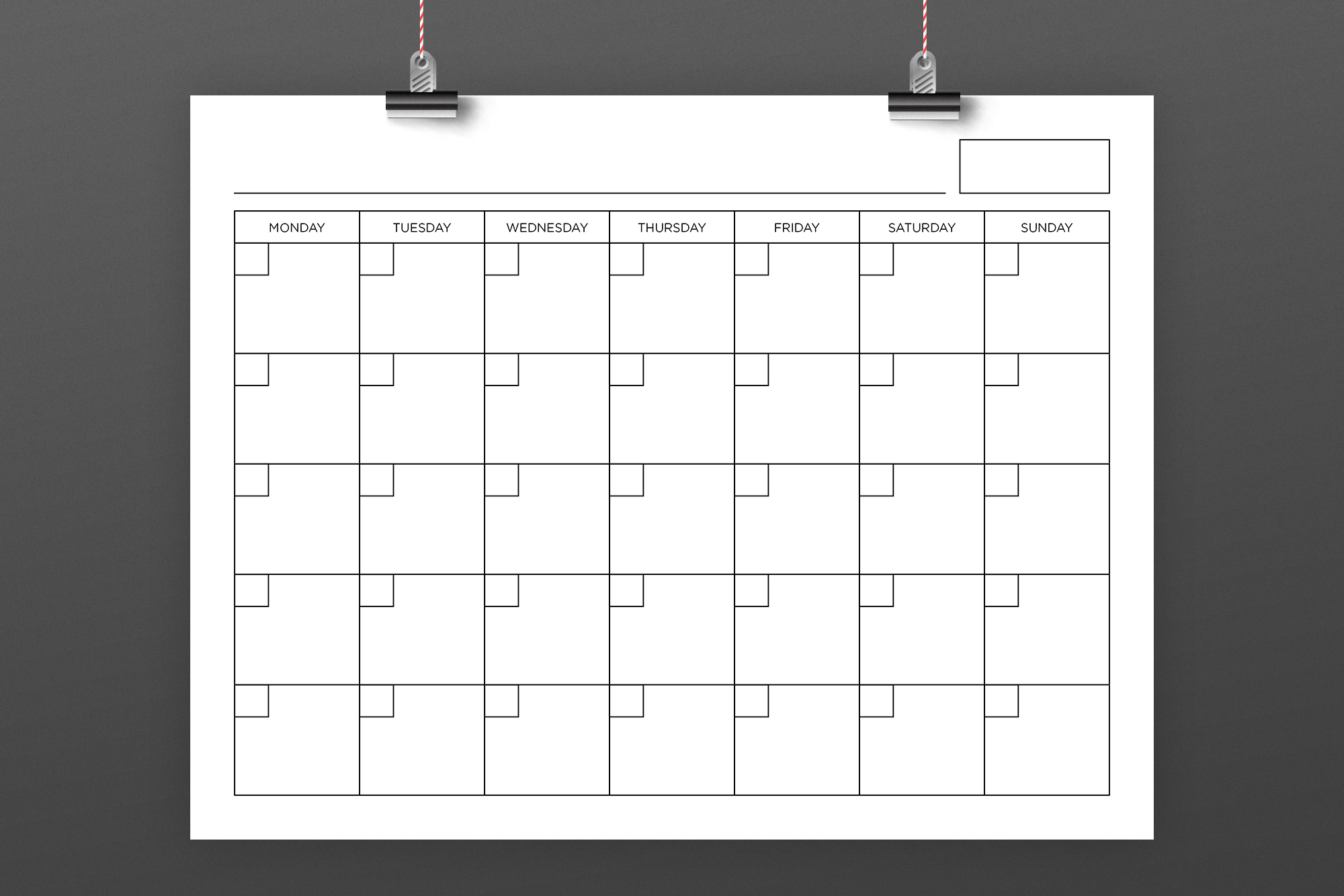 Blank Calendar Page Template Set example image 2