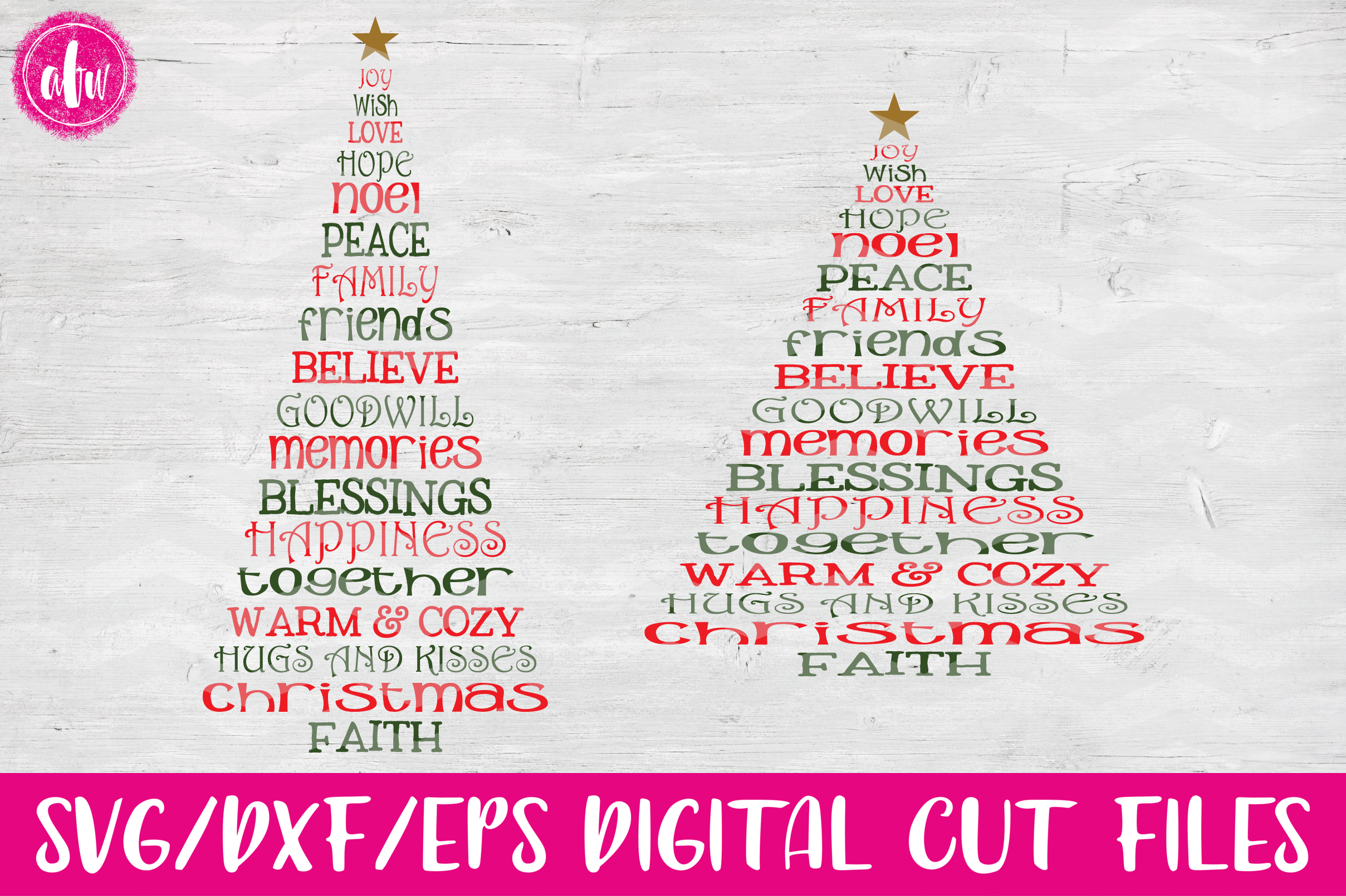 Christmas Word Trees - SVG, DXF, EPS Cut Files example image 1