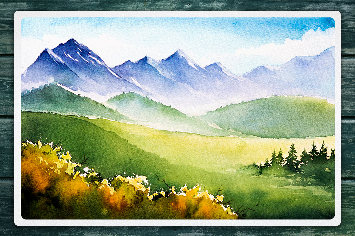Watercolor Vector Landscapes set#2 example image 9
