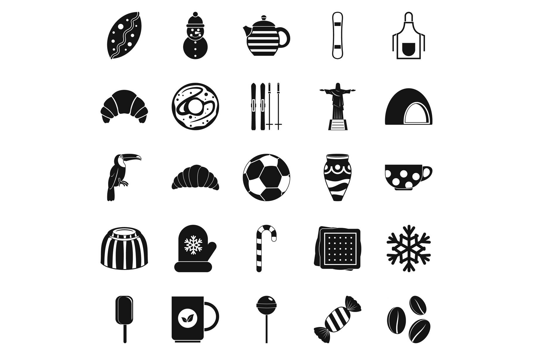 Bar icons set, simple style example image 1