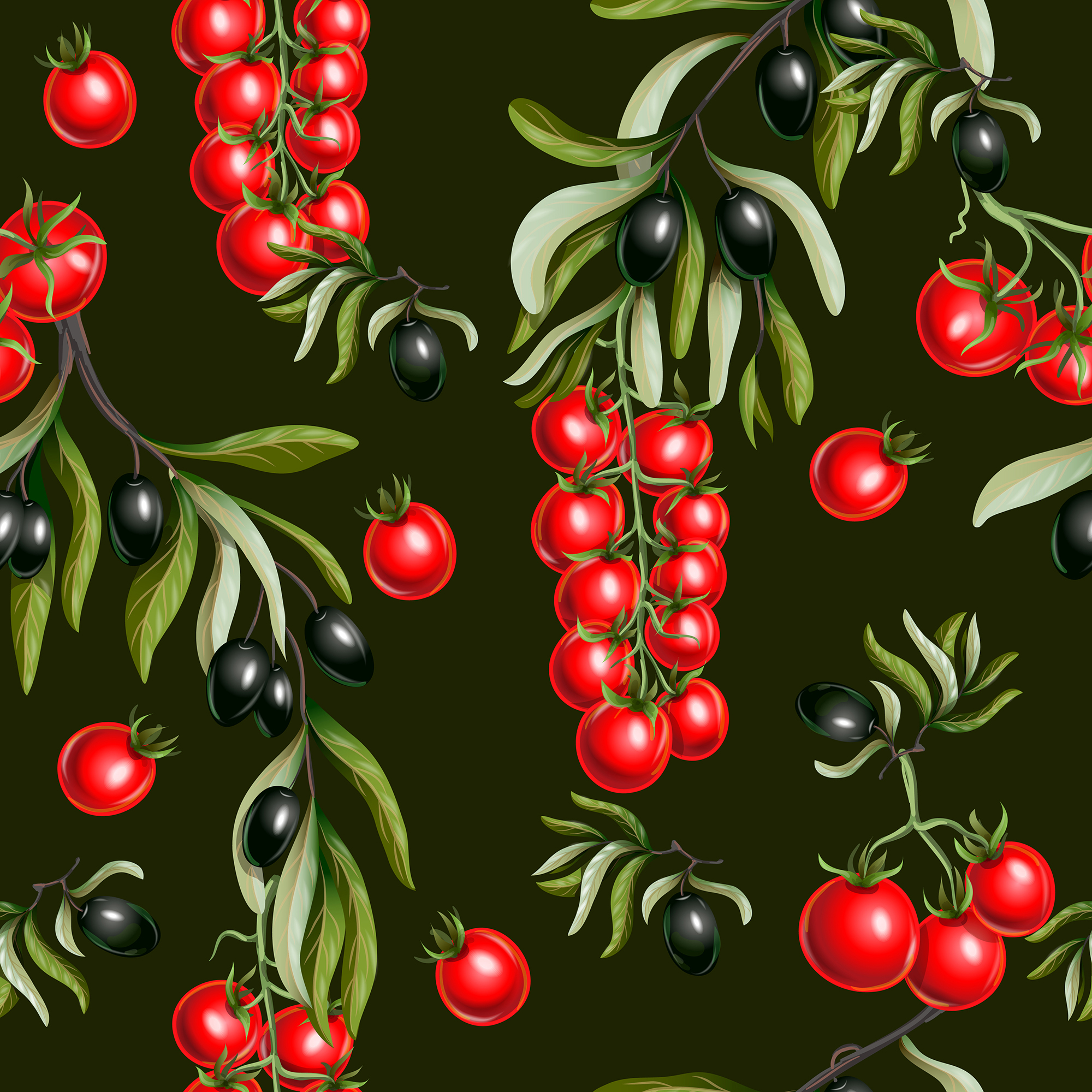 Vector olives and tomato cherry isolated example image 2